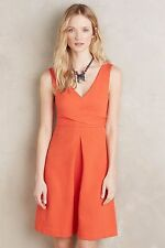 NWT SZ 12 $148 ANTHROPOLOGIE ARDMORE DRESS BY HD IN PARIS FIT AND FLARE ORANGE