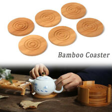 6-Pack Set Bamboo Wooden Coaster with Holder, Round Cup Coasters, Tan CA