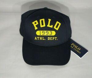 POLO RALPH LAUREN 1993 ATHL. DEPT. MEN'S AVIATOR BASEBALL CAP HAT NAVY -NWT