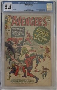 The Avengers 6 1st Baron Zemo Jack Kirby & Stan Lee CGC 5.5 Off White Pages 1964