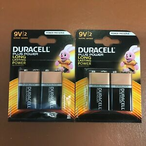 4 Duracell 9V PP3 Plus Power Batteries Smoke Alarm LR22 MN1604 Long Lasting NEW