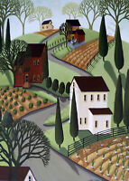 Giclee ACEO folk art print landscape Spring gardens crops country farm chickens