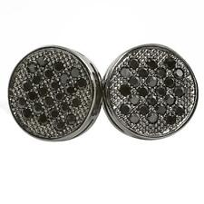 Black M Circle Bling Bling Micro Pave CZ Earrings