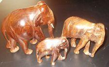 schnitzerei skulptur figuren holz geschnitzt familie ELEFANTEN bulle kuh + kalb