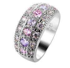 Ring Fingerring f. Damen  mit Rosa u. Lila CZ Kristallen Grau (Silb)(3)