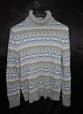 Lands End L Gray Blue Yellow Turtleneck Sweater Fair Isle Stripe Cotton Wool Lg