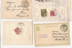 HUNGARY- 7 bit older covers,cards, forms, etc.  all used