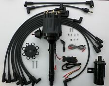 CHEVY ALL BLACK Small HEI Distributor + plug wires over valve cover + 45K Coil