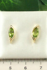 8943 Ladies Solid Cast 9ct 375 Yellow Gold Marquise Cut Peridot Stud Earrings