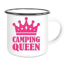 Camping Queen - Emailtasse mit Rand, Email Becher