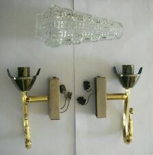 1960 2 appliques + luminaires design LAITON / 1 seule TULIPE EN VERRE