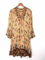 Zara Woman Yellow Multi Embroidered Ethnic Peasant Boho Eastern Dress M 8 10