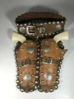 Vintage Hubley Toy Pony Boy Die-Cast Cap Pistols And Leather Holsters