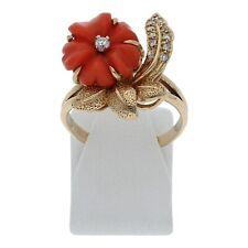 Koralle Brillant Ring 333 Gold Größe 56 8 Karat Handarbeit Schmuck R04.2580
