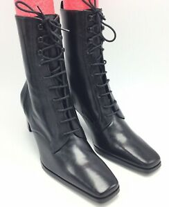 """New Etienne Aigner Sz 6 M Black Leather Mid Calf Lace Up Boots 3""""Heel"""