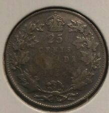 CANADA SILVER COIN 25 CENTS COIN King George V 1936 DOT variety
