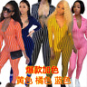 Sexy Women V Neck 3/4 Sleeve Striped Casual Long Bodycon Club Zipper Jumpsuit