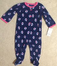 Carters Girls Blue Floral Flannel Footed Blanket Sleeper - Size 6 mos - NEW
