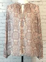 Lucky Brand Womens Shirt Size Small Pink White Gray Print Long Sleeve Blouse Tie