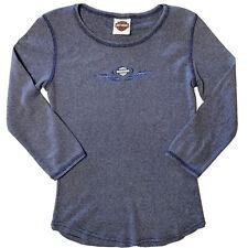 Harley Davidson Women's Medium Top Blue 3/4 Sleeve Illinois