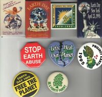 9 EARTH DAY old CONSERVATION Green Anti GLOBAL WARMING pin pinback