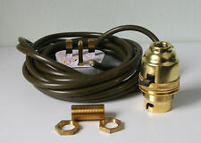 Brass switched lamp holder Kit BC fitting c/w 1/2inch thread an 3 metres of wire