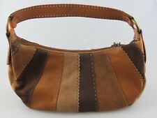 Fossil Leather Suede Patchwork Tassel Hobo Multicolor Shoulder Bag Purse ZB9607