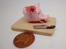 1:12 Scale  A Pig Head On Butcher & Knife Doll house Miniature Raw Food