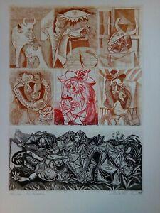 """GRITTI  CALLISTO  acquaforte-acquatinta 70x50, con aut. notarile, """"a Picasso"""""""