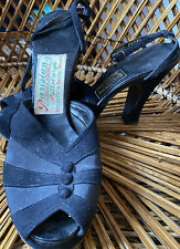 Vintage 1940s 1950s Parisian Ankle Strap Peep Toe Platform Heel Dress Up Pumps