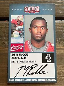 2010 Under Armour Senior Bowl Myron Rolle - DB Florida State Oversized Card