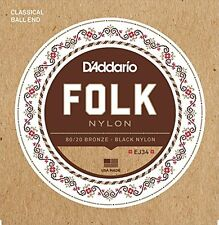 D'Addario Folk Nylon Guitar Strings, Ball End, 80/20 Bronze/Black Nylon Trebles