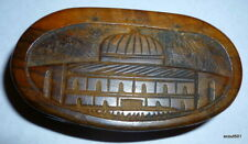 Antique Souvenir Hand Carved Hinged Oval Wood Box Jerusalem Dome Of The Rock