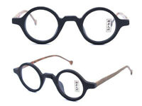 60s Vintage Small Round Wood Hand Made Eyeglass Frames Full Rim Rx Glasses 99