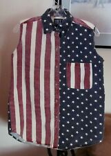 QUIZZ Patriotic Flag Stars Stripes Sleeveless BLOUSE Vest Top Women's Sz S EUC