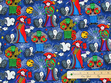 Graveyard Bash Vampire Frankenstein Blue Halloween Fabric by the 1/2 Yard