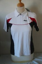 Original Polo top ASICS  Bendrook  Duo Tech blanc bleu rouge col zippé  S   neuf