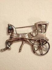 "1930's ""Silver Made in Mexico"" Horse & Carriage Wagon Pin Brooch, 20 gram (Y34)"