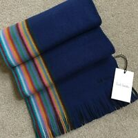 PAUL SMITH REVERSIBLE MULTI STRIPE SCARF 100% PURE NEW WOOL BNWT