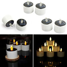 FM_ SN_ Solar Power LED Flameless Candle Tea Light Party Outdoor Lamp Decoration