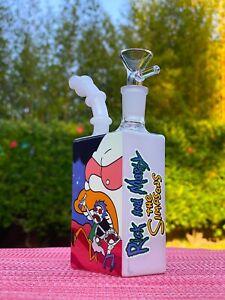 "7"" Glass Water Pipe Bong Hookah & Premium Design Art Bubbler + Free Shipping"