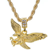 """Men/'s Hip Hop Silver Plated Iced Out Eagle Pendant 24/"""" Rope Chain Set HC 1121 S"""