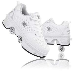 Roller Skates for Women Outdoor,Parkour Shoes with Wheels for 5.5US White