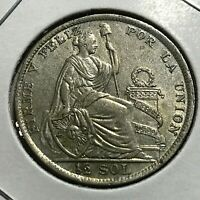 1926 PERU SILVER 1/2 SOL HIGH GRADE COIN