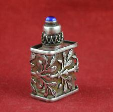Antique Vintage French Filigree Miniature Perfume Bottle Silver + Glass RARE