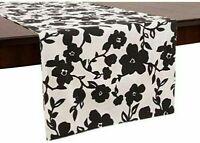 "kate spade new york Primrose Drive Table Runner 15x72"" Black White Floral"