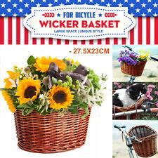 Vintage Wicker Bicycle Bike Front Basket Box Handlebar For Shopping Camping