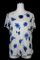 NEW womens ivory blue floral ANN TAYLOR shirt top blouse tee 100% LINEN casual M