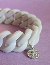 Marc by Marc Jacobs Silicone Rubber Chain Bracelet w Charm Light Grey