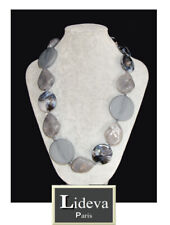 Vintage Statement Necklace Endless Paris Necklace Stone 19 11/16in Grey Black